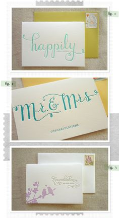 wedding cards with minimal colors and striking typography