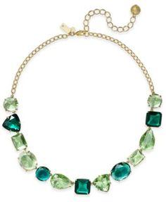 kate spade new york Gold-Tone Green Crystal Collar Necklace | macys.com
