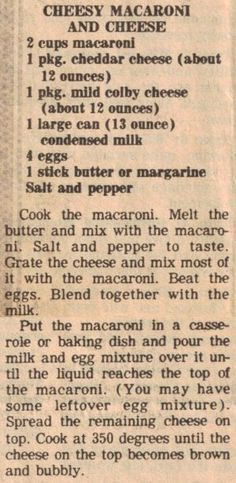 Cheesy Macaroni and Cheese (bake mac and cheese southern) Retro Recipes, Old Recipes, Vintage Recipes, Side Dish Recipes, Great Recipes, Cooking Recipes, Favorite Recipes, Recipies, 1950s Recipes