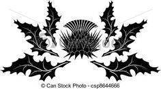 Vector - Thistle ornament - stock illustration, royalty free illustrations, stock clip art icon, stock clipart icons, logo, line art, EPS picture, pictures, graphic, graphics, drawing, drawings, vector image, artwork, EPS vector art