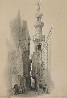 David Roberts - Egypt and Nubia, Volume III; The Minaret of the Mosque El Rhamree, 1848