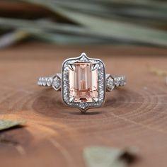 Emerald Cut Morganite diamond halo set on an by Earthandrockjewels