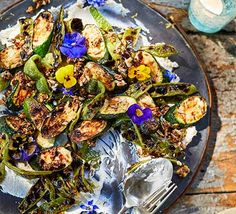 This vegetarian side dish of charred courgettes and runner beans sings summer and also has a small bite of hot chilli. It goes down well at barbecues Vegetarian Side Dishes, Vegetarian Recipes, Healthy Recipes, Grilling Sides, Runner Beans, Cooking On The Grill, How To Cook Chicken, Serving Dishes, Healthy Cooking