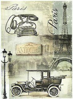 Ricepaper/Decoupage paper,Scrapbooking Sheets /Craft Paper Vintage Black Paris in Crafts, Cardmaking & Scrapbooking, Decoupage   eBay