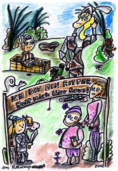 """Auch im Mittelalter gab es schon """"Ich bin ein Ritter, holt mich hier raus!"""" ...... Die Zeichnung ist allerdings schon etwas älter, wie man an dem verstorbenen Dirk Bach sieht. ............ Zeichnungen aus dem zweiten Kinderbuch von Michael Klüter """"Der Kleine Ritter und das Abenteuer geht weiter"""", welches demnächst bei Amazon erscheinen wird."""