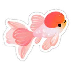 """Cherry blossom goldfish Stickers by pikaole Fish Drawings, Kawaii Drawings, Animal Drawings, Cute Drawings, Cool Stickers, Printable Stickers, Papel Sticker, Cute Fish, Minecraft Fan Art"