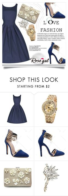 """""""Rosegal 8"""" by fashion-with-lela ❤ liked on Polyvore featuring vintage, Elegant and ShadesofBlue"""