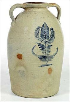 Salt glazed crock...love the delicate strokes of the blue glaze