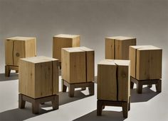 """I like the addition of a base to give the overdone """"block of wood as a stool"""" a fresh look."""