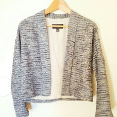 """Mango Light Tweed Jacket Beige, blue, and light blue in the tweed. Open look without any front closure.   Shell: 56% cotton 34% polyester  10% acrylic  Lining: 100% cotton Sleeve Lining: 100% polyester   19"""" length 18"""" across 17"""" sleeve length Mango Jackets & Coats"""