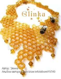 This goes well with my honeycomb bracelet Seed Bead Necklace, Seed Beads, Beaded Necklace, Necklaces, Beading Projects, Brick Stitch, Bead Weaving, Beading Patterns, Ladybug