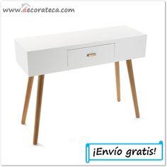 """Consola de madera blanca """"Nordic"""". Decoración nórdica / escandinava - WWW.DECORATECA.COM"""