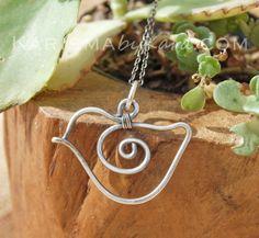 Bird Necklace. Sterling Silver. Oxidized. Wire Jewelry.