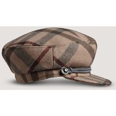 Burberry Edith Smoked Check Wool Peak Cap ($295) ❤ liked on Polyvore featuring accessories, hats, women, burberry cap, cap hats, peak cap, burberry and woolen hat