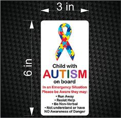 Child with AUTISM on Board - Emergency Awareness Car Vinyl Bumper Sticker Decal, Autism Awareness Quotes, Understanding Autism, Car Bumper Stickers, Children With Autism, Vinyl Designs, Special Education, Decals, Boards, Letters