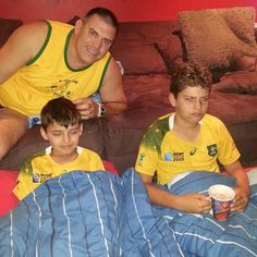 #RWC2015 go  Australia! Kids are up. Weary and  middle  of the night! #getyourgoldon