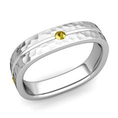 Yellow Sapphire Wedding Ring in 14k Gold Hammered Square Wedding Band, 5mm. This 14k gold square wedding ring showcases brilliant yellow sapphires set in a 5mm hammered finish comfort fit wedding band that is also perfect as an anniversary ring for men and women.