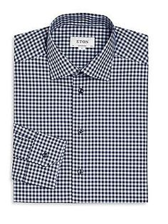 Eton Gingham Plaid Button-Up - Blue - Size 1