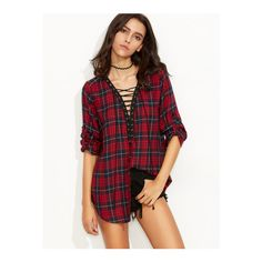 SheIn(sheinside) Red Plaid Roll Tab Sleeve Lace Up Blouse ($23) ❤ liked on Polyvore featuring tops, blouses, red, red plaid blouse, long sleeve v neck top, v neck blouse, red blouse and collar blouse