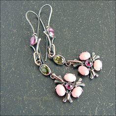 Strukova Elena - авторские украшения - Серьги с розовыми опалами, родолитами и апатитами