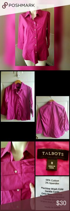 """Talbots Classic Collar Shirt Color Magenta Pink. Gently worn. Flattering button down silhouette. Shirt tail hem.   Measurements 8 = medium Length 27"""" Bust 36"""" Waist 29""""  Hip 39""""  Sleeve length 18.5""""   Get an additional 30% off when purchasing 3 or more items using the bundle feature. Always willing to negotiate. 🌹🌼🌹🌼🌹🌼🌹🌼🌹🌼🌹🌼🌹🌼 Talbots Tops Button Down Shirts"""