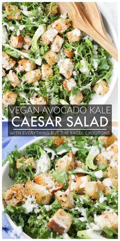 Vegan Avocado Kale Caesar with Everything Bagel Croutons - This Savory Vegan