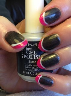 IBD Just gel polish using 'slate' and 'parisol' to create backward French design :)