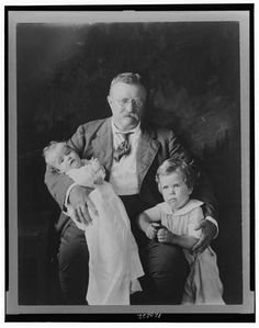 Theodore Roosevelt with Grandson- Richard Derby and holding Grandson Kermit Roosevelt, Jr., ca. 1916