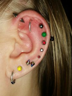 I can also put a ring through my outer conch and either one of my 2 top helixes to get an orbital piercing.