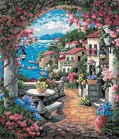Cross stitch European city by the sea Funny Cross Stitch Patterns, Cross Stitch Kits, Cross Stitch Charts, Ribbon Embroidery, Cross Stitch Embroidery, Cross Stitch Landscape, Needlepoint Kits, Cross Stitching, Cross Stitch Patterns