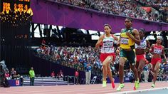 Women's 800m heats in the Olympic Stadium  (L-R) Halima Hachlaf of Morocco, Caster Semenya of South Africa, Rose Mary Almanza of Cuba and Annabelle Lascar of Mauritius compete in the women's 800m round 1 heats on Day 12 of the London 2012 Olympic Games.