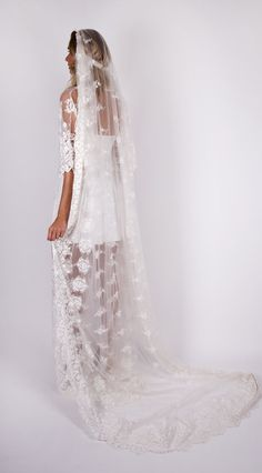 Long Jasmine Veil And Short Wedding Dress
