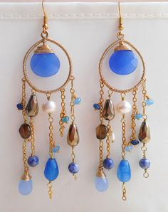 Meduse earrings blue gemstone chandelier earrings long earring
