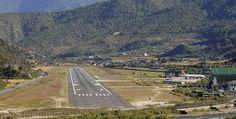 Paro Airport in Bhutan, Himalayan Mountians