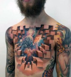 Guys 3D Wall Universe Chest Tattoos