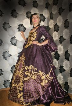 18 century Rococo Purple-Aubergine Gown