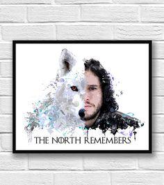 Juego de tronos imprimir acuarela arte de Jon nieve