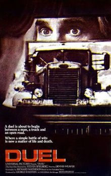 Duel (Spielberg's debut!) #Movies - 1971 television (and later full-length theatrical) film directed by Steven Spielberg and written by Richard Matheson, based on his short story. It stars Dennis Weaver, who plays a terrified motorist stalked on a remote and lonely road by the unseen driver of a mysterious tanker truck. -Wikipedia.