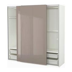 Ikea Doppelrollo hasvik pair of sliding doors high gloss beige ikea beige