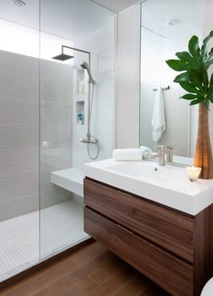 Bathroom with wooden vanity