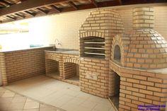 Churrasqueira e forno em tijolo laminado branco