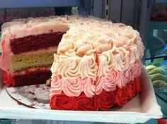 Pink Red Velvet Ombre cake