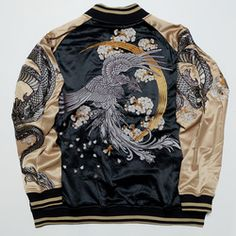 LAST PIECE Size 3L - HYPEBEAST Model (As popularized by) RARE Japanese Edo Japan Nihonga A la SOGA SHOHAKU Style Embroidery Dragon Ryu Tattoo Zen Sakura Cherry Blossoms Flowers Badass Thug Heavy Embroidery Sukajan Embroidered Bomber Jacket