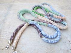 extra long bead crochet necklace Rope lariat Pastel, boho hippie tribal bohemian jewelry, Beaded necklace door DolgovaSvetlana op Etsy https://www.etsy.com/nl/listing/201712919/extra-long-bead-crochet-necklace-rope