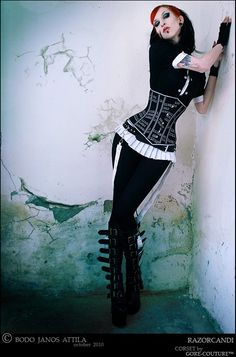 Gore Couture Corsetry: £170.00 code: HATE (Underbust) - Made from cotton coutil, printed with silver reflective binary code & pinstripe trim. Has front busk fastening and internal & external boning. - <33333 I love the boots too!