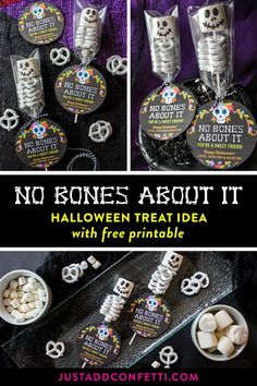 "Today, I have another Halloween treat to share with you all…our No Bones About It—You're a Sweet Friend: Marshmallow and Pretzel Skeleton Gift Idea. These sweet little skeletons are very easy to assemble. Just pair them with our ""No Bones About It"" free p"