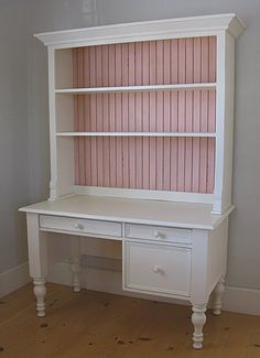 Small Library Desk with Hutch- you could totally recreate this by using wallpaper on the back of the shelves.