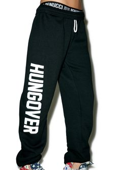 """Private Party Hungover Sweatpants do you have an advil tho? We know tha feels, especially when you roll outta bed and slip into these comfy af sweatpants that have elastic on the cuffs and a drawstring waist with solid coke white lettering printed on the side that reads """"HUNGOVER."""""""