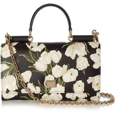 Von tulip-print leather cross-body bag Dolce Gabbana... (1,290 CAD) ❤ liked on Polyvore featuring bags, handbags, shoulder bags, leather shoulder handbags, white shoulder bag, crossbody handbags, crossbody purses and leather cross body purse