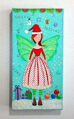 Angel, Angel painting, holiday, holiday decor, mixed media angel, folk art angel, art for kids, art for her, 6 x 12 canvas painting on Etsy
